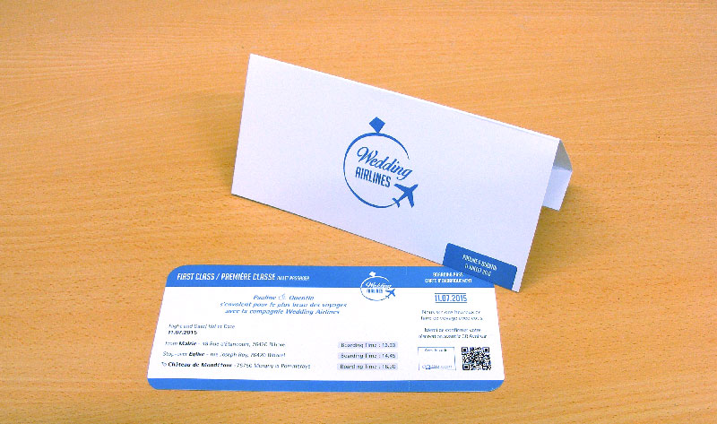 impression faire-part mariage forme billet Avion