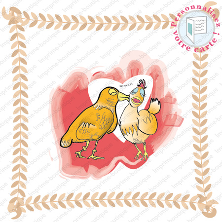 "illustration de Faire-parts Mariage ""poule"""