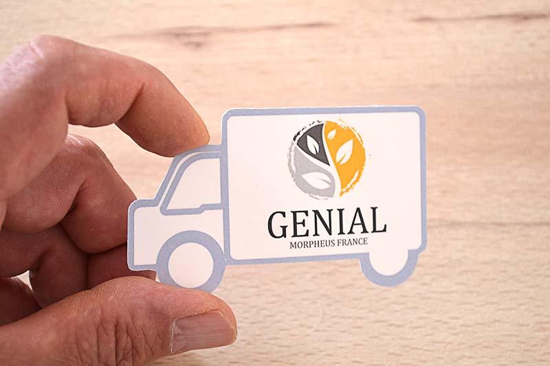 carte de visite originale avec découpe à la forme pas cher, découpe personnalisée en forme de camion