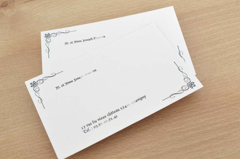 Carte De Visite Particulier Pas Cher Avec Enveloppe Format 128x82mm