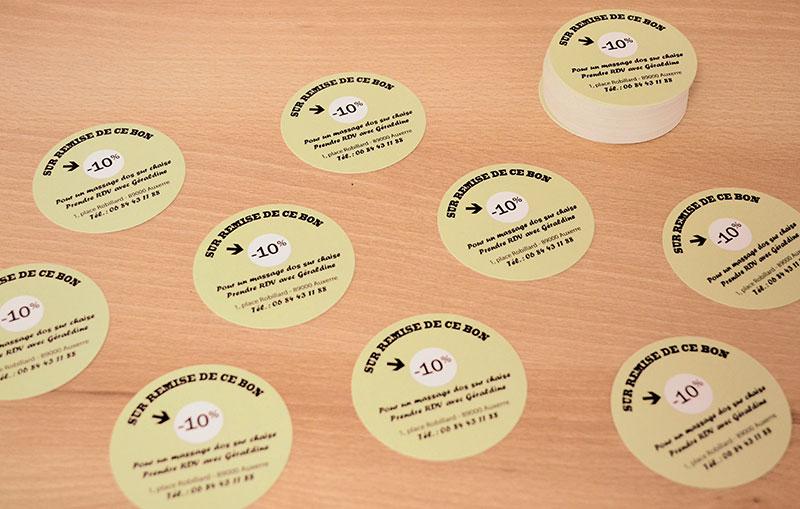 exemple d' impression de carte de visite ronde pas chère, votre imprimeur vous livre à Paris, Reims, Toulouse, Caen, Lyon, Bordeaux, Marseille