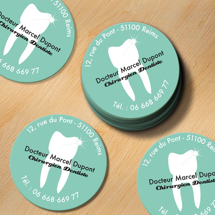impression carte de visite ronde dentiste