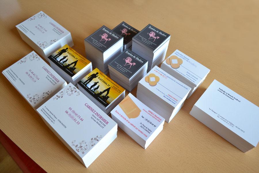 Exemple Dimpression De Cartes Visite Ralises En Partie Avec Nos Modles Ligne