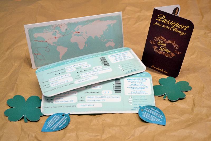 Faire-part Mariage Billet Avion pour le voyage avec un faire-part billet d'avion et un faire-part passeport