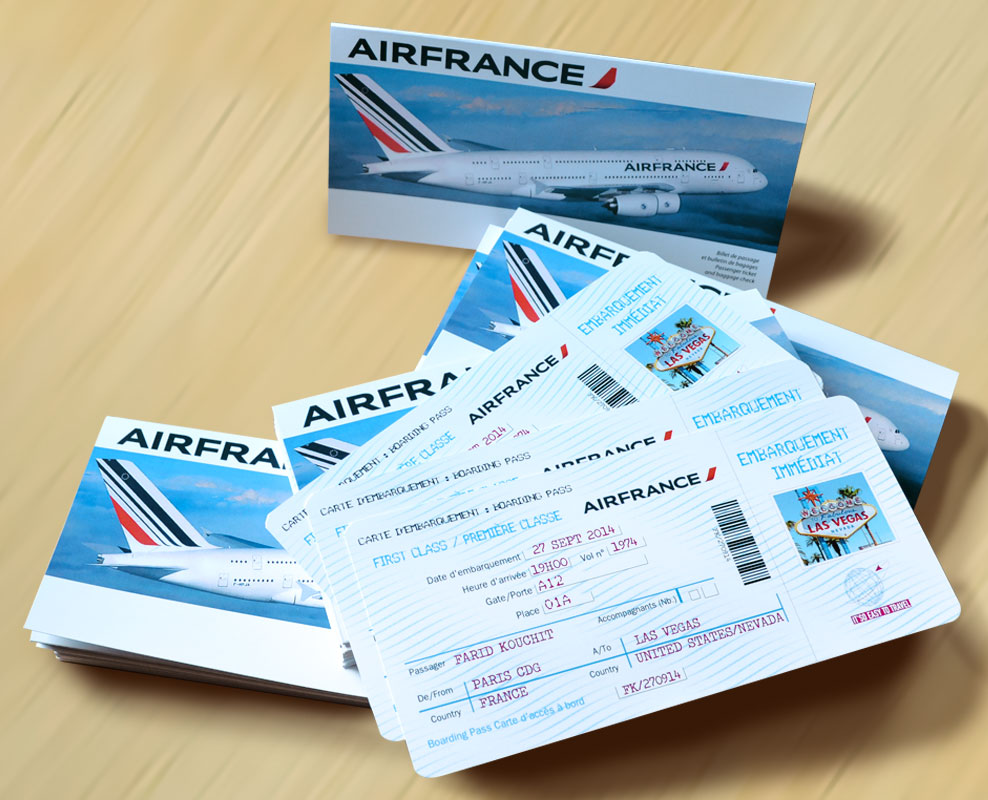 faire-part forme billet d'avion