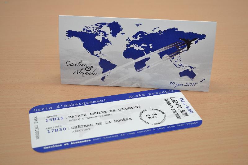 Faire part billet avion avec carte embarquement chic pas cher voyage - Salon creation et savoir faire billet gratuit ...