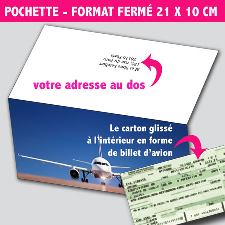 illustration de Faire-parts Billet d'Avion