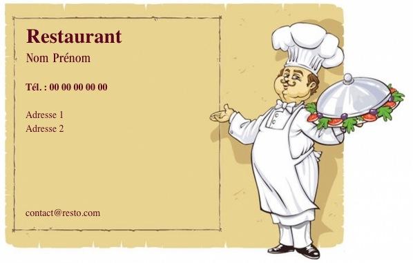 Modele Gratuit Carte De Visite Pour Restaurant Traiteur