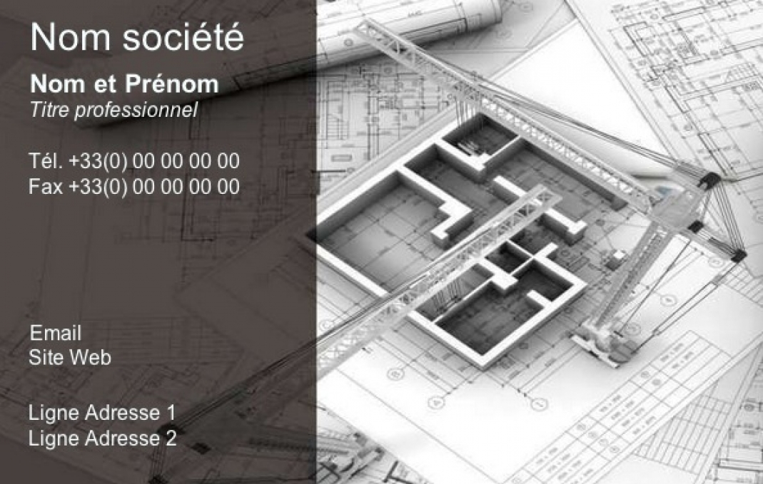 Carte de visite construction b timent btp architecte for Mise en page de conception maison en ligne gratuitement