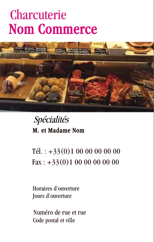 Boucherie Charcuterie Carte De Visite Pour Commerce Alimentation Traiteur Modele Gratuit Avec Impression Pas Chere Ou Telechargement