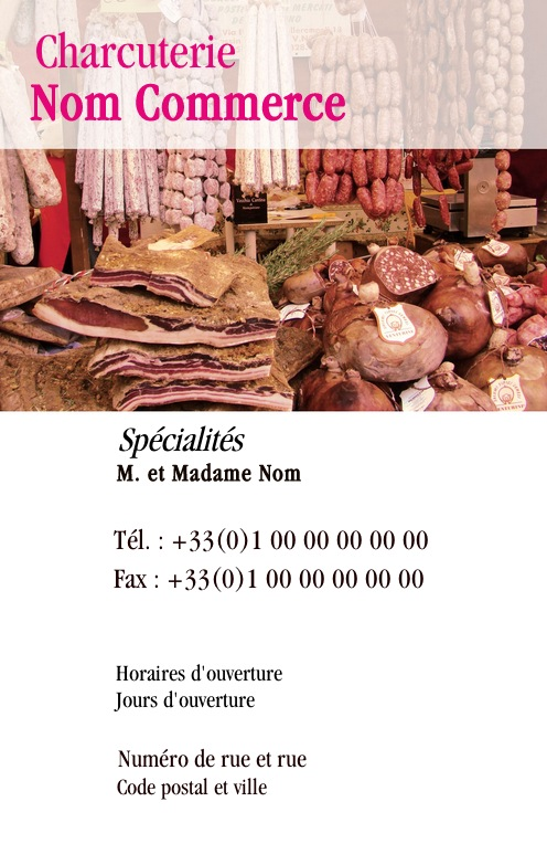 Boucherie Charcuterie Carte De Visite Pour Alimentation Viande Traiteur Modele Gratuit Avec Impression Pas Chere Ou Telechargement