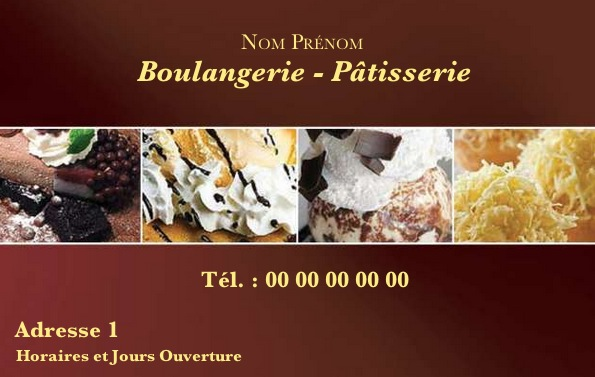 Boulangerie Et Patisserie Carte De Visite Pour Commerce Boulanger Patissier Modele Avec Photo Gratuit Impression Pas Chere Ou