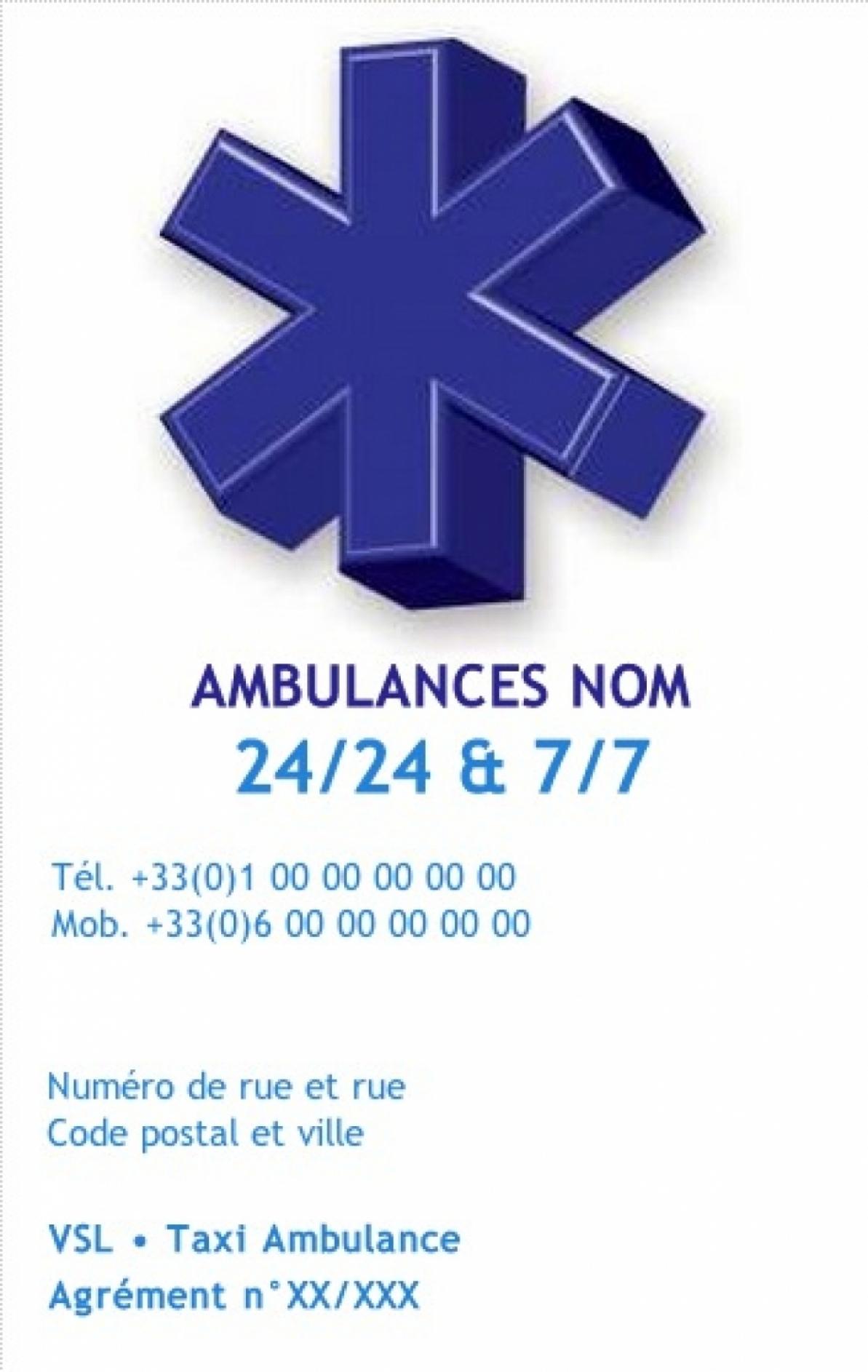 Ambulance Carte De Visite Ambulancier VSL Taxi Exemple Pas Chere Avec Modele En Ligne Gratuit A Imprimer Chez Soi