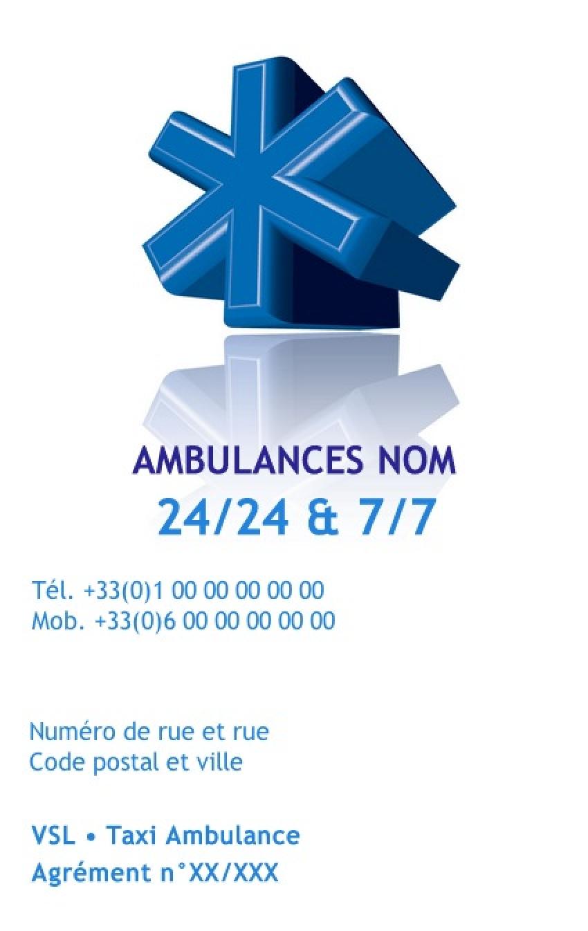 carte ambulancier vsl mod le carte de visite imprimer gratuit. Black Bedroom Furniture Sets. Home Design Ideas