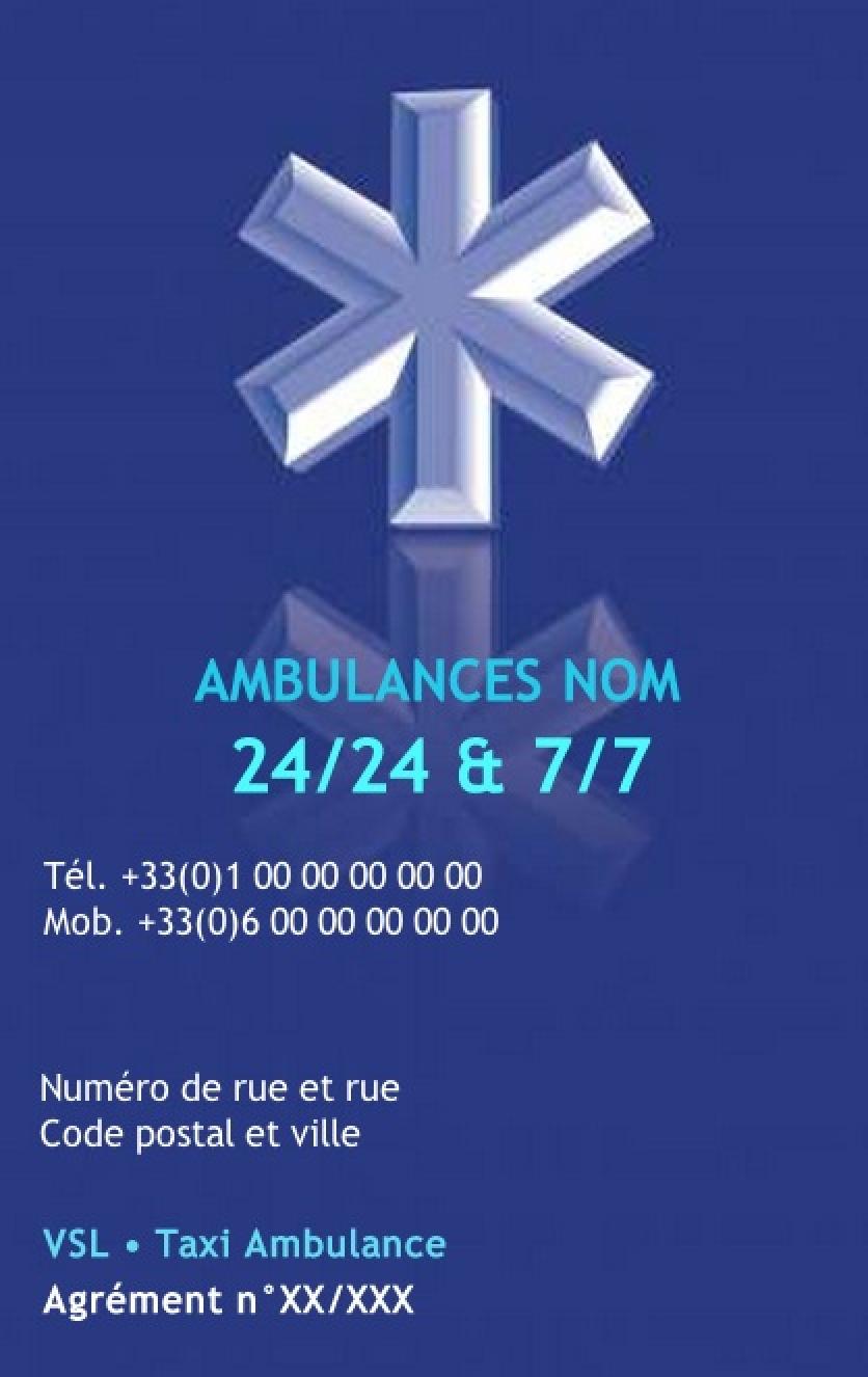 Ambulancier Carte De Visite Service Ambulance Professionnel Sante Exemple Pas Cher Avec Modele En Ligne Gratuit A Imprimer Chez