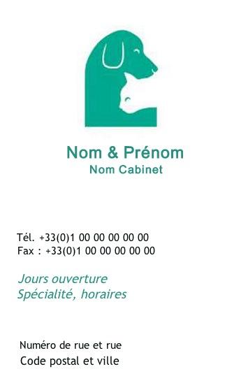 Cabinet Vtrinaire Clinique Animale Modle Carte De Visite Soin Animal Domestique