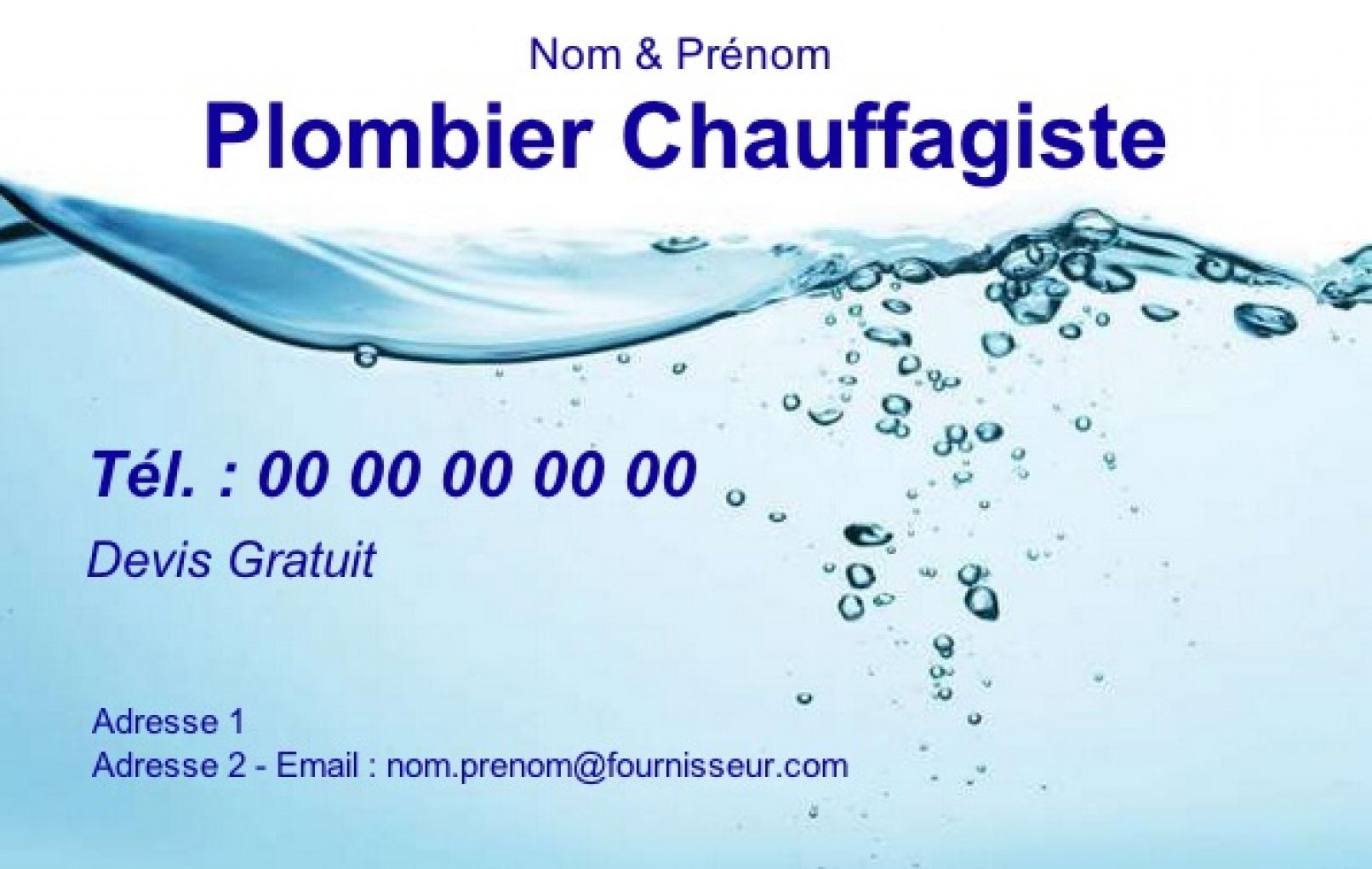 Plomberie Exemple Carte De Visite Plombier Chauffagiste Modele Gratuit A Personnaliser En Ligne Pas Chere