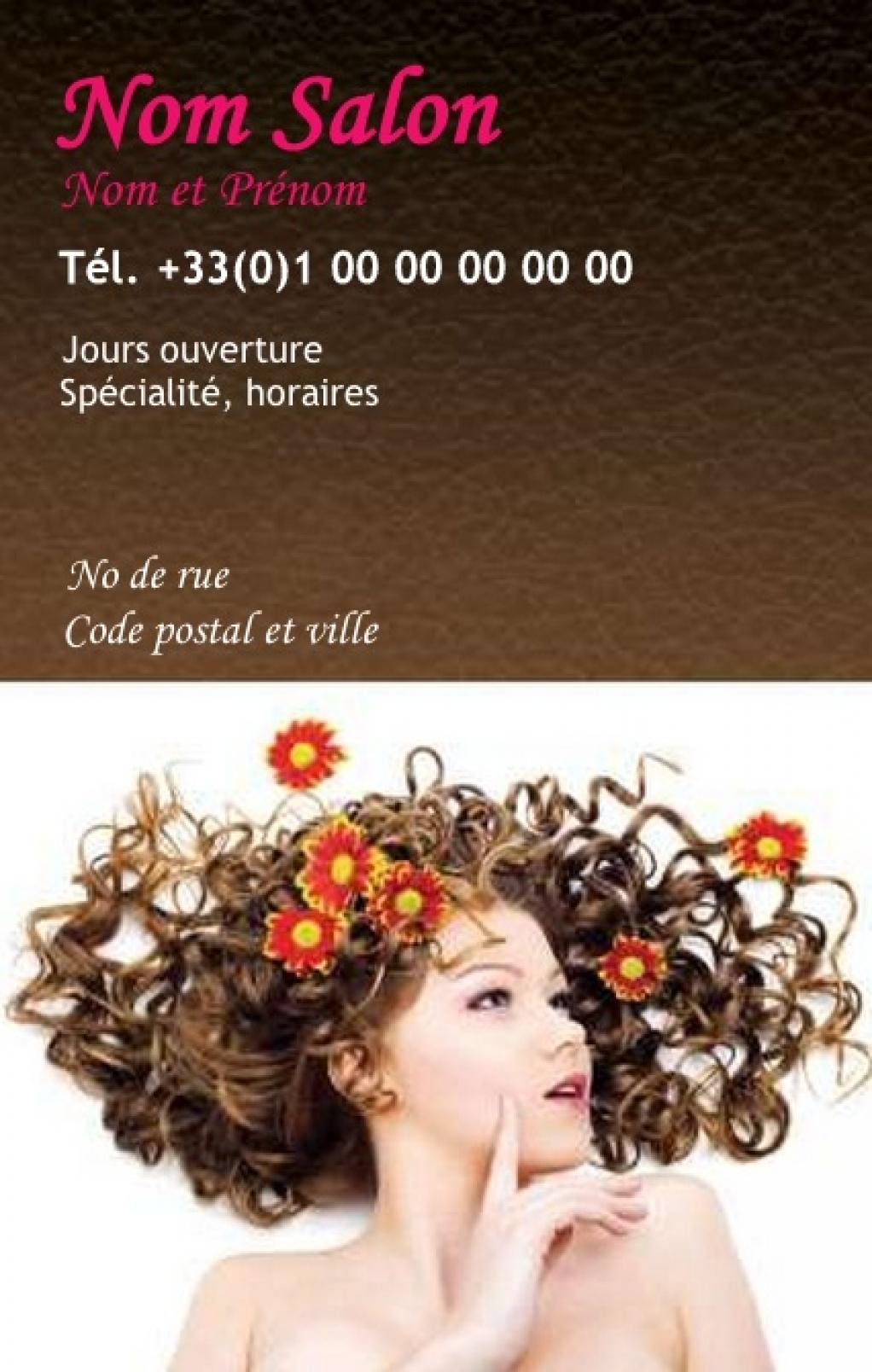 Coiffure A Domicile Carte De Visite Fleurie Modele Gratuit Personnaliser En Ligne Avec Impression Pas Chere Ou Telechargement