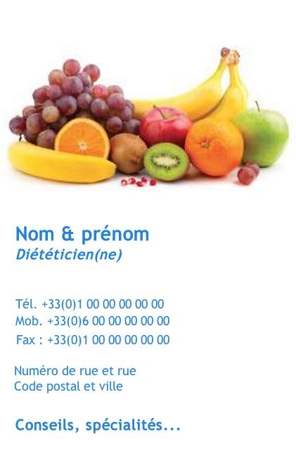Dieteticien Dieteticienne Carte De Visite Pour Professionnel Impression Pas Chere A Personnaliser En Ligne Modele Gratuit