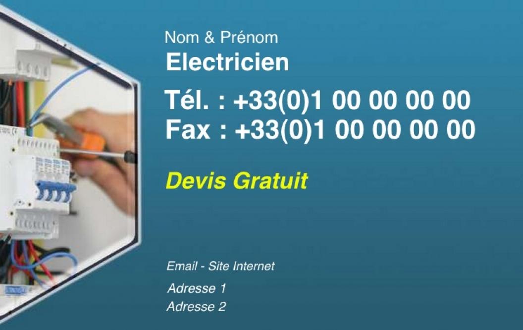 Electricien Carte De Visite Electricite Depannage Pas Chere A Personnaliser En Ligne Modele Gratuit Bleu