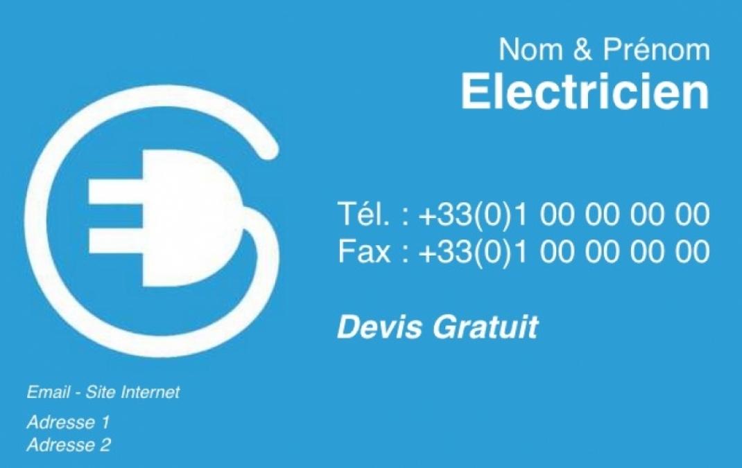 Electricien Exemple Carte De Visite Renovation Batiment Pas Chere A Personnaliser En Ligne Modele Gratuit Avec Fil Blanc Et Fond Bleu