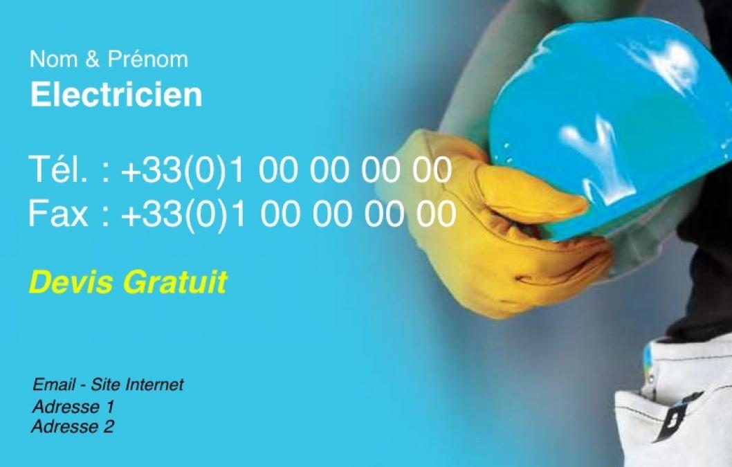 Electricien Carte De Visite Artisan Batiment Pas Chere A Personnaliser En Ligne Modele Gratuit Avec Fond Bleu Clair