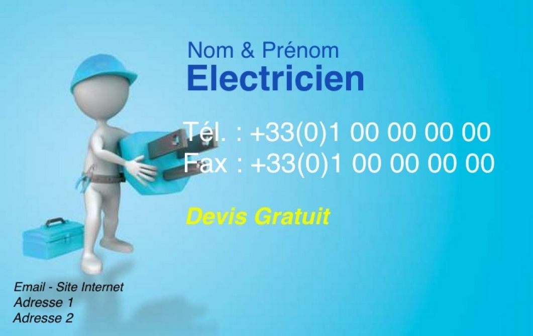 Electricien Carte De Visite Professionnel Batiment Pas Chere A Personnaliser En Ligne Modele Gratuit Avec Petit Personnage