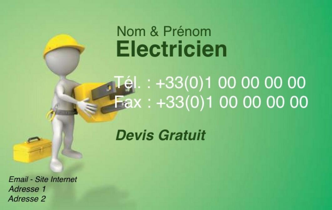 carte de visite electricien  maintenance industrielle mod u00e8le vert