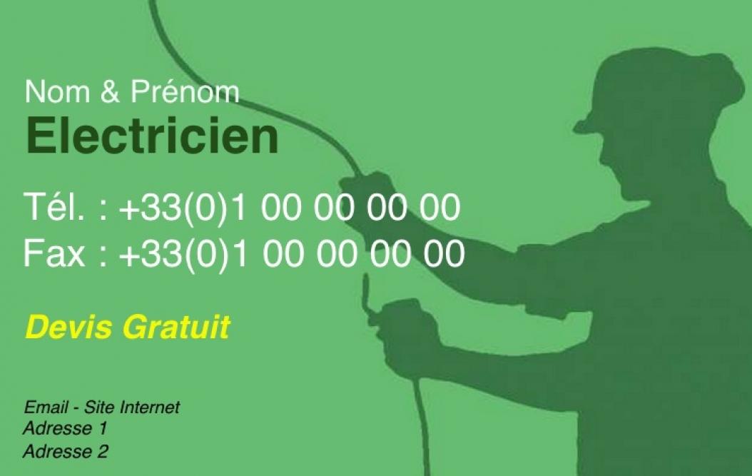 Electricien Modele Carte De Visite Artisan Batiment Pas Chere A Personnaliser En Ligne Gratuit Avec Ombre