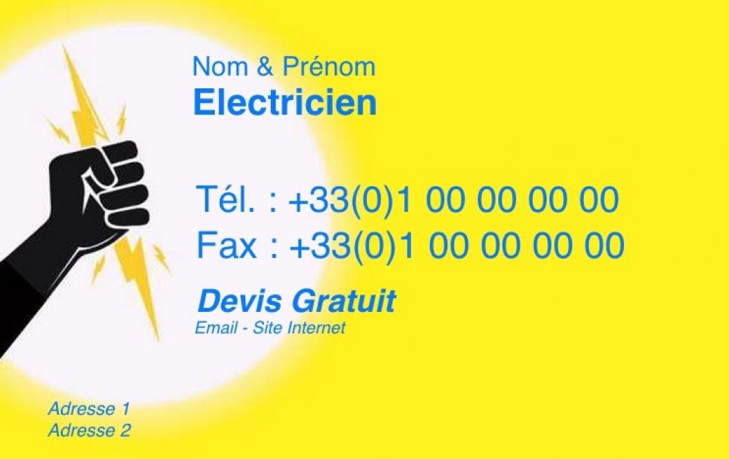 Bien connu Carte de visite Électricien ⇒ Modèle Gratuit à Personnaliser | Jaune KY12