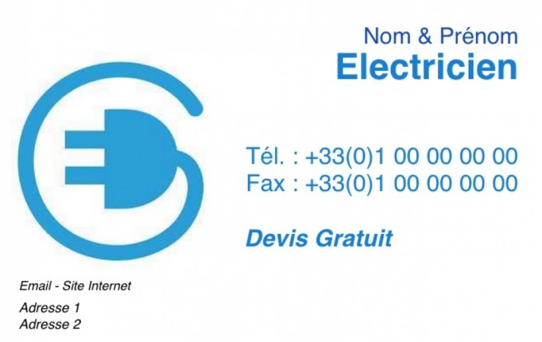 Electricien Carte De Visite Artisan Lectricien Du Btiment Pas Chre Personnaliser En Ligne Modle Gratuit Avec Fil Bleu