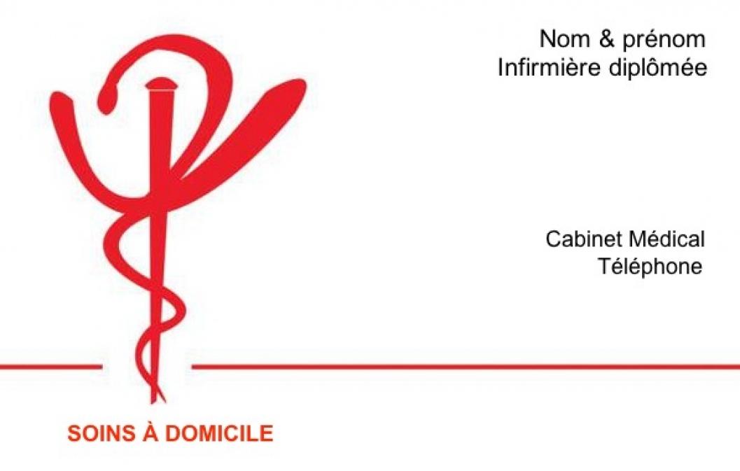 Bien-aimé Exemple Carte de visite Infirmière Libérale | Kducée Rouge TQ76