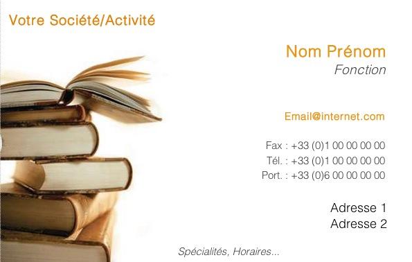 Carte de visite libraire bouquiniste librairie mod le bouquins - Carte de visite gratuite sans frais de port ...