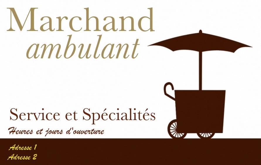 Très Marchand Ambulant, Modèle Carte de visite Commerce et Epicerie UK03