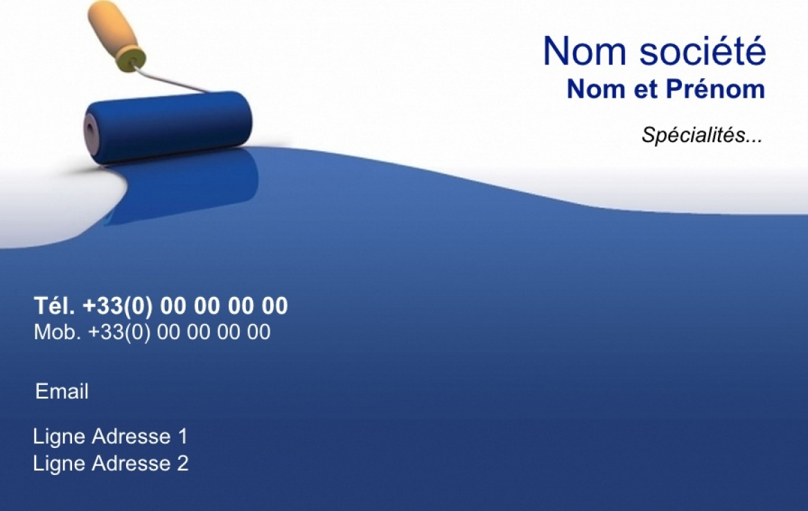 Carte de visite peintre b timent exemple mod le gratuit fond bleu - Carte de visite gratuite sans frais de port ...