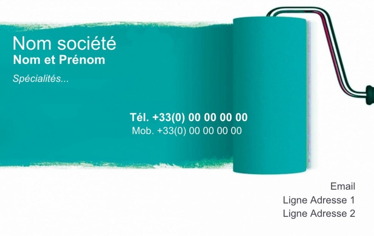carte de visite peintre b u00e2timent  exemple u0026 mod u00e8le gratuit   rouleau vert
