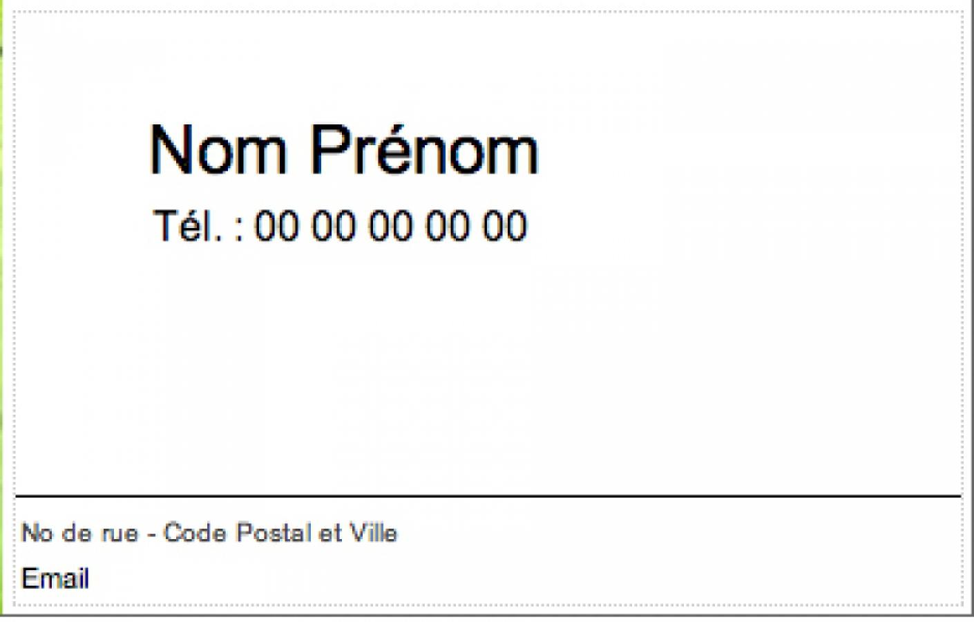 Mod le gratuit carte de visite particulier familiale cr ation en ligne - Carte de visite gratuite sans frais de port ...