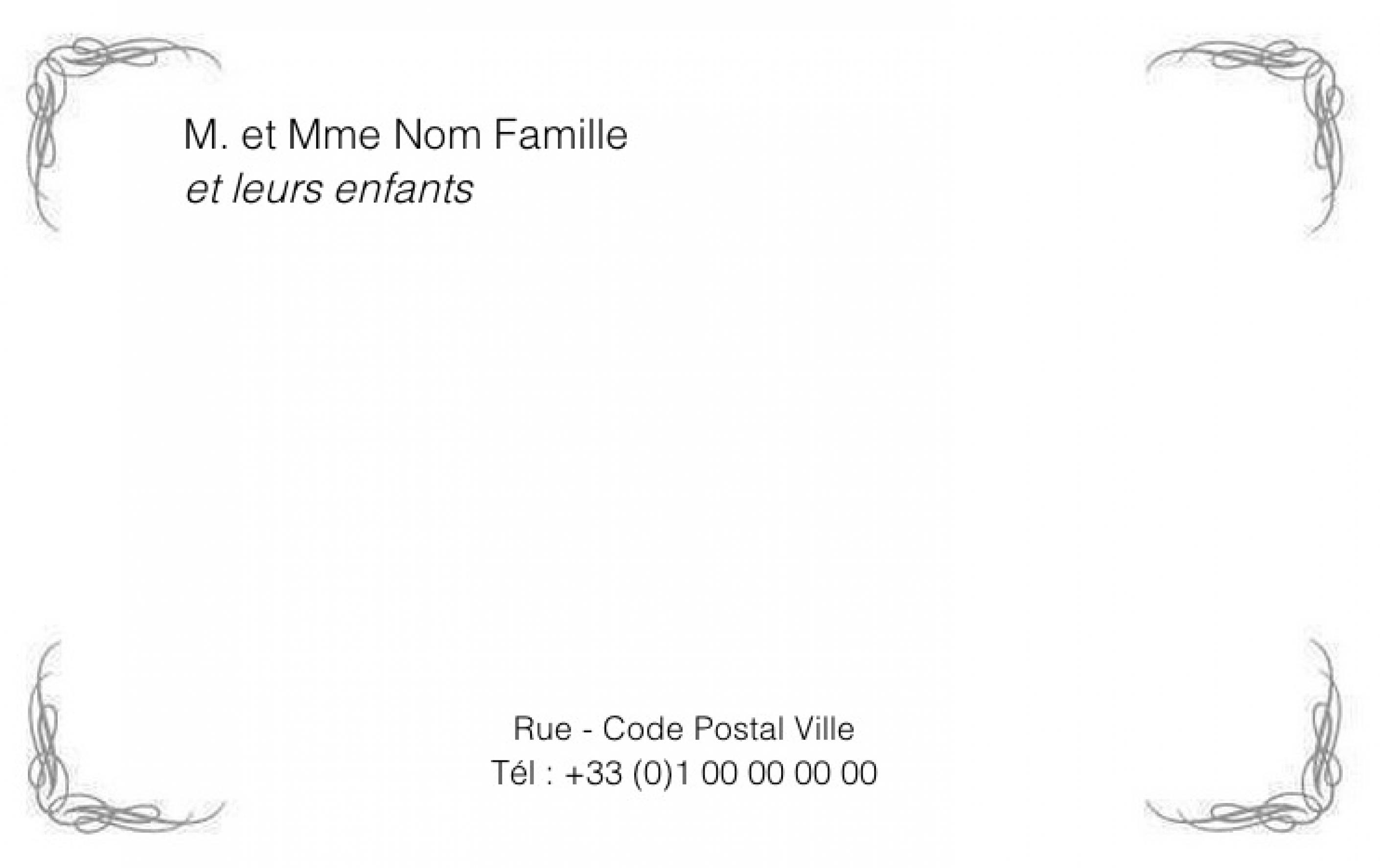 Souvent Carte pour particulier Carte de visite Familiale Modèle à imprimer  AG03