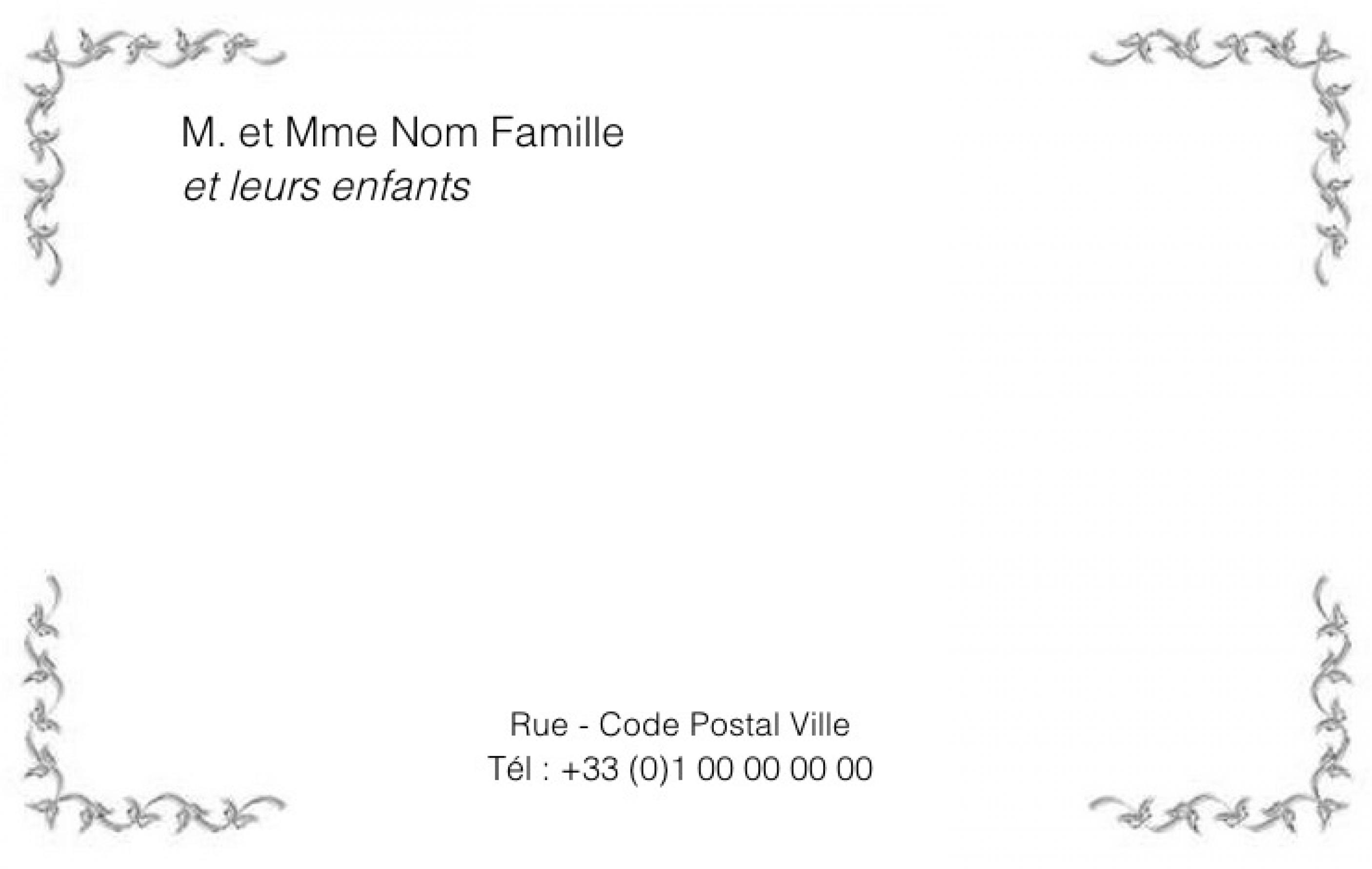 Carte de visite particulier grand format carte familiale cadre fleur - Carte de visite gratuite sans frais de port ...
