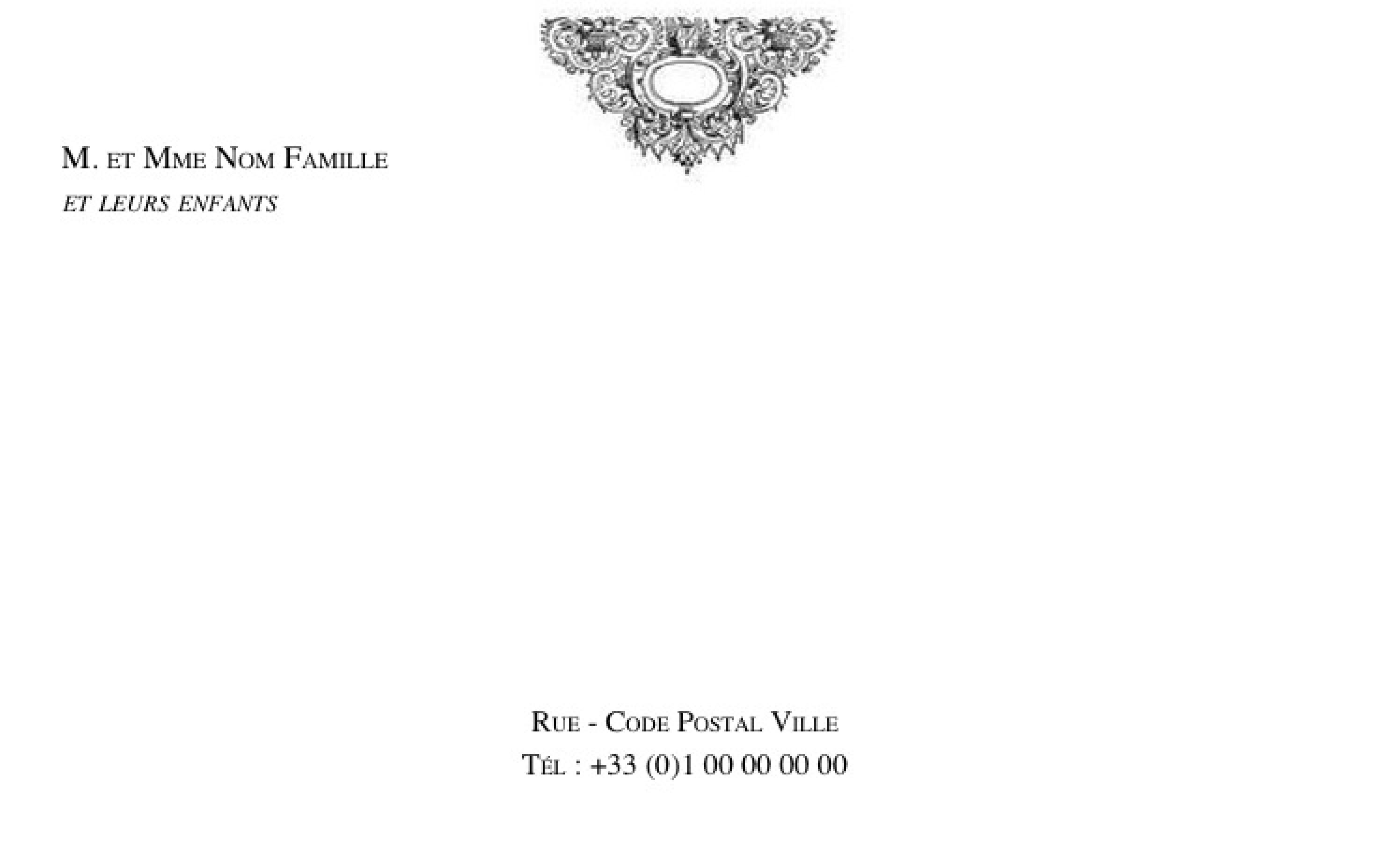 BModle Carte De Visite Gratuit Pour Particulier Personnaliser B Familiale Grand Format Famille Avec Ornement En