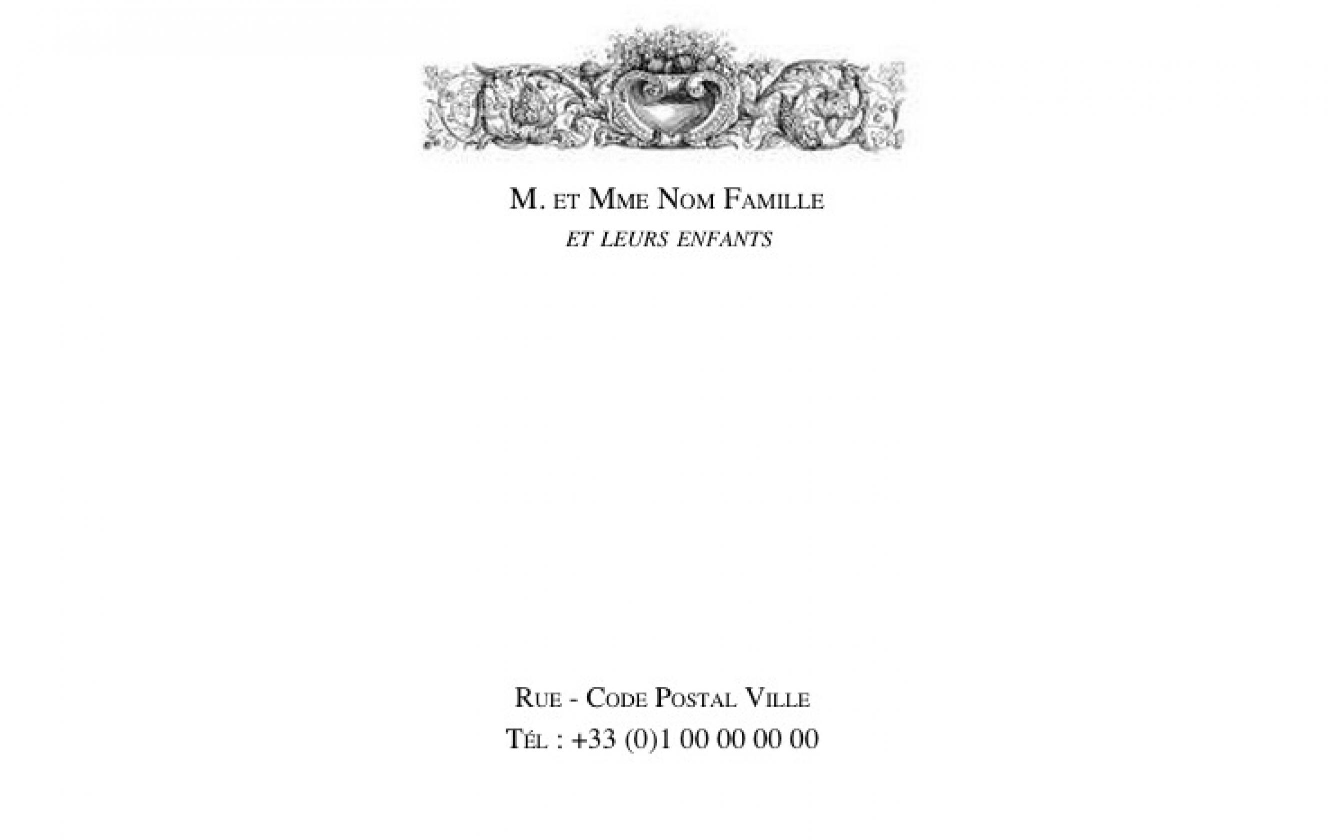 BModele Gratuit Carte De Visite 128x82 A Personnaliser B Familiale Exemple Grand Format Avec Ornement En