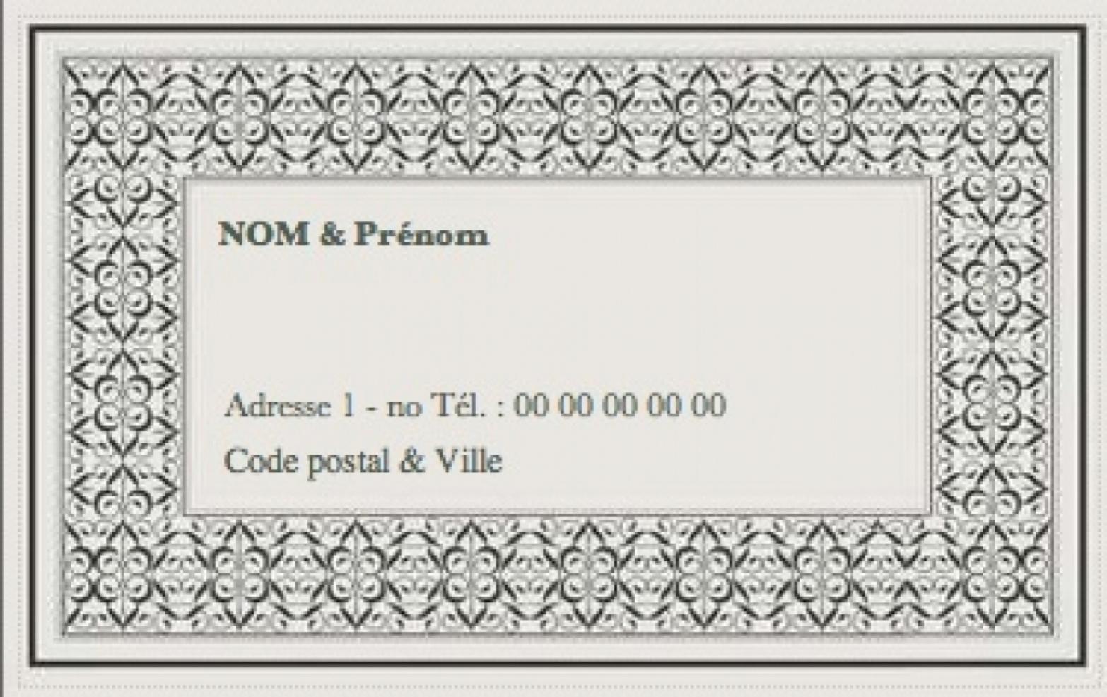 Carte de visite familiale grand format carte priv e cadre - Carte de visite gratuite sans frais de port ...