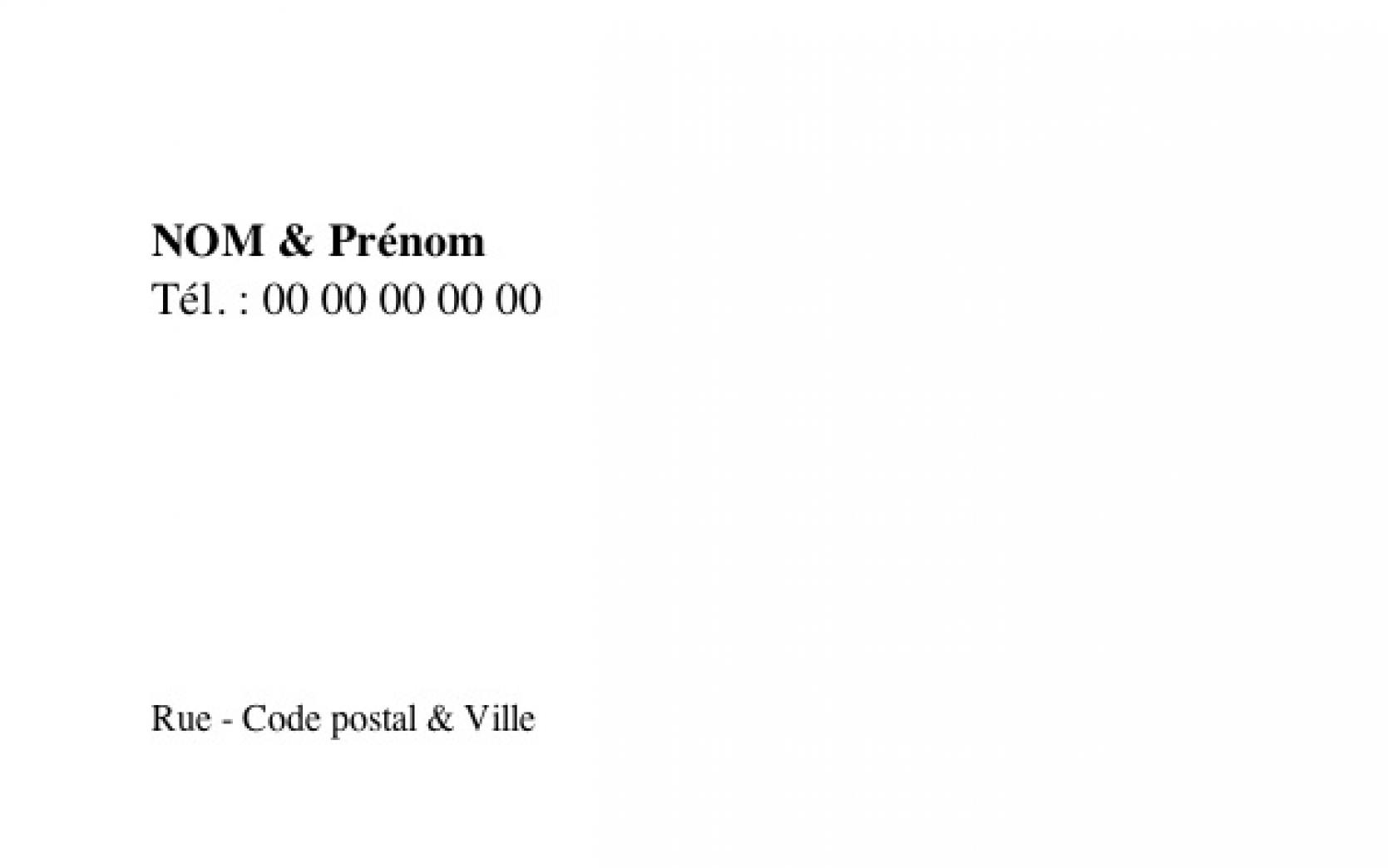 Connu Carte de visite Familiale Grand Format | Carte Perso | Vierge Blanche PU81