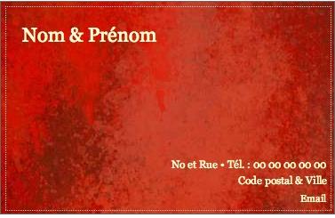 Carte de visite particulier familliale carte priv e fond rouge - Carte de visite gratuite sans frais de port ...