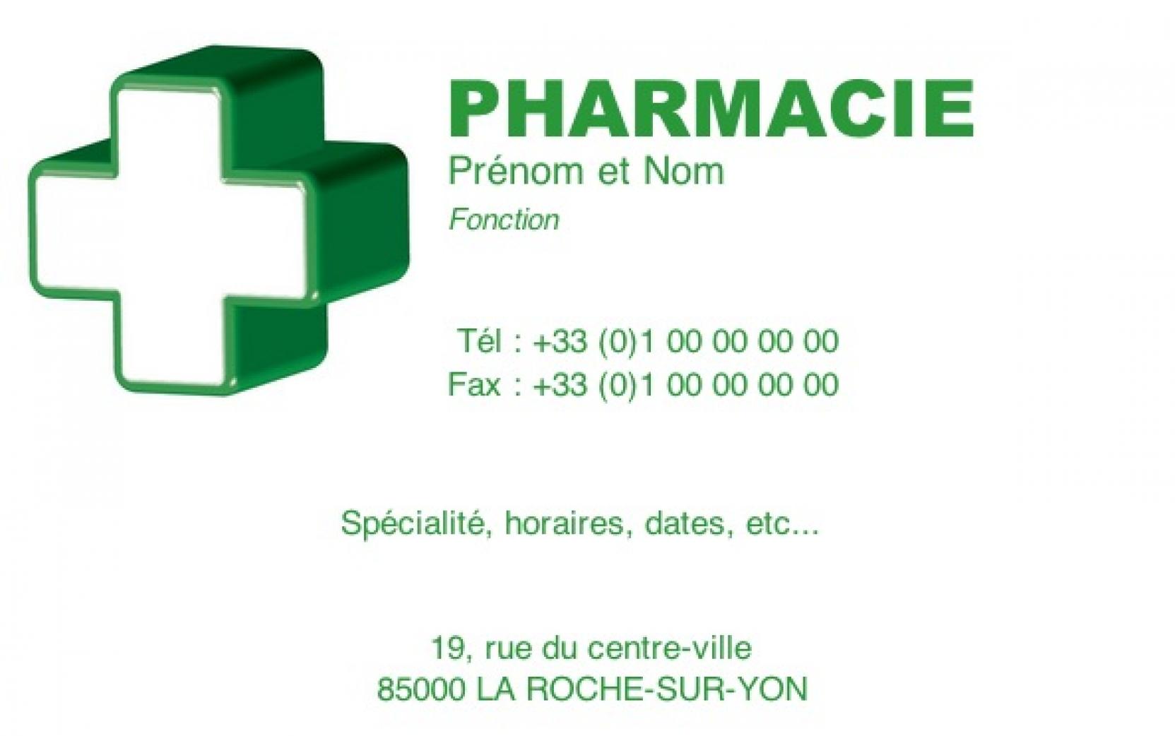 Pharmacie Professionnelle Carte De Visite Pharmacien Avec Croix Personnaliser En Ligne Modle Gratuit Pas Chre