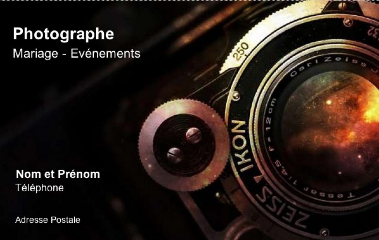 Bien-aimé Carte de visite Photographe, Modèle Gratuit à imprimer | Zoom FV29