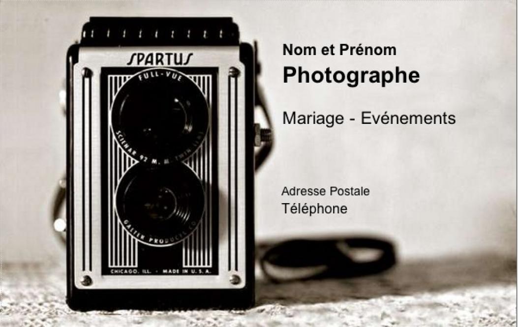 Connu Carte de visite Photographe, Modèle Gratuit à imprimer | Forme Vintage AN74