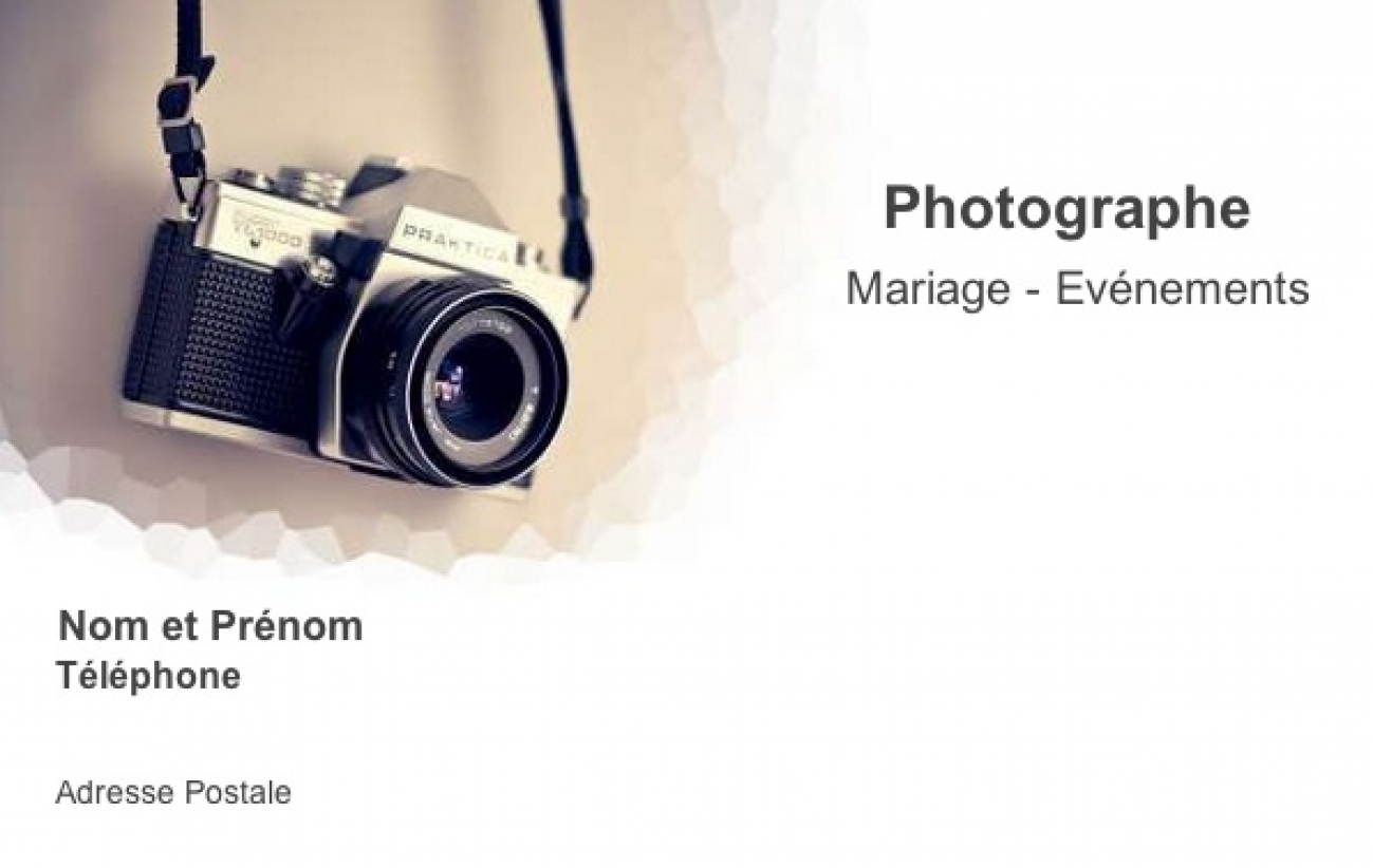 Bien-aimé Carte de visite Photographe, Modèle Gratuit à imprimer | Appareil FV29