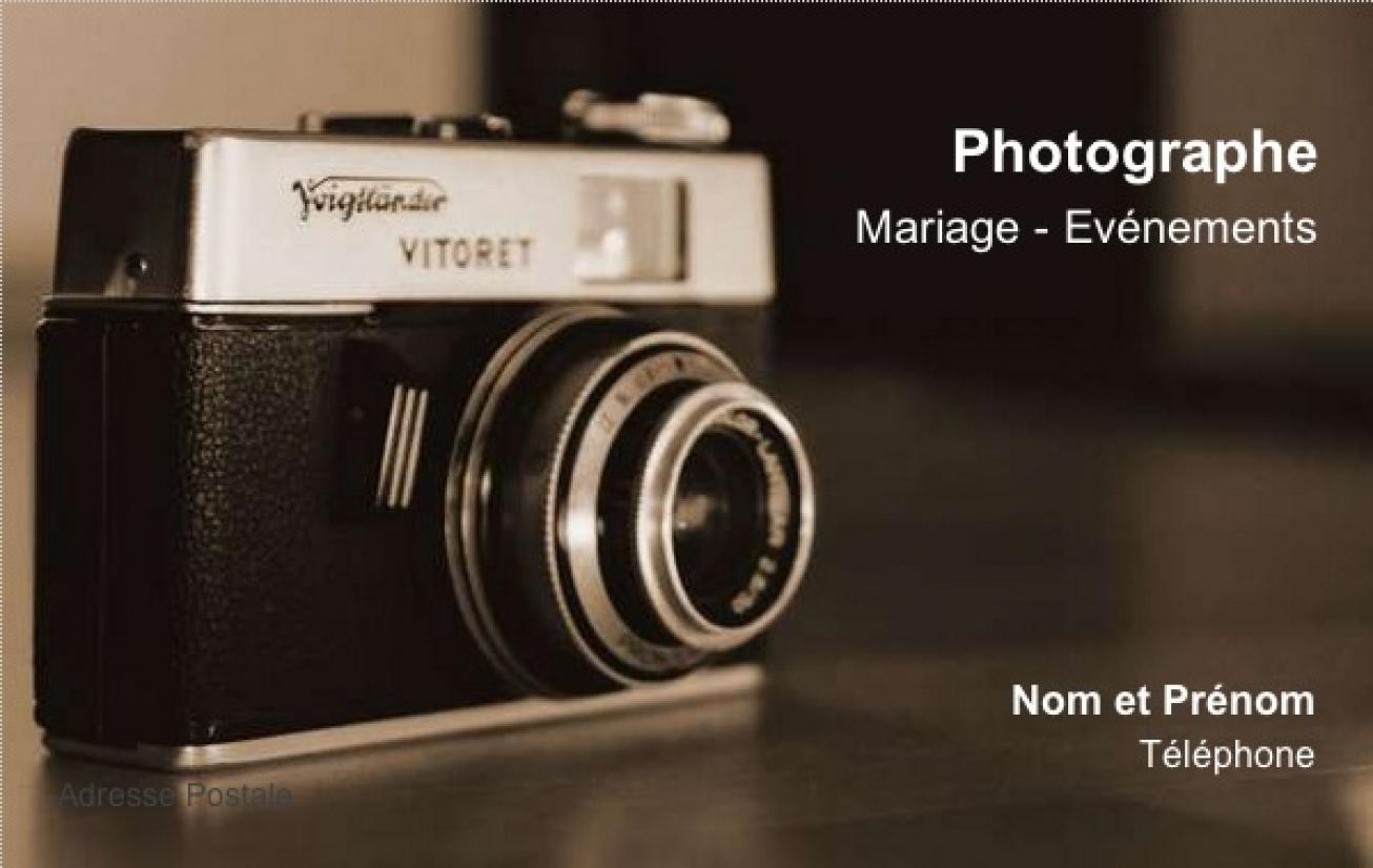 Bien-aimé Carte de visite Photographe, Modèle Gratuit à imprimer | Scène FV29