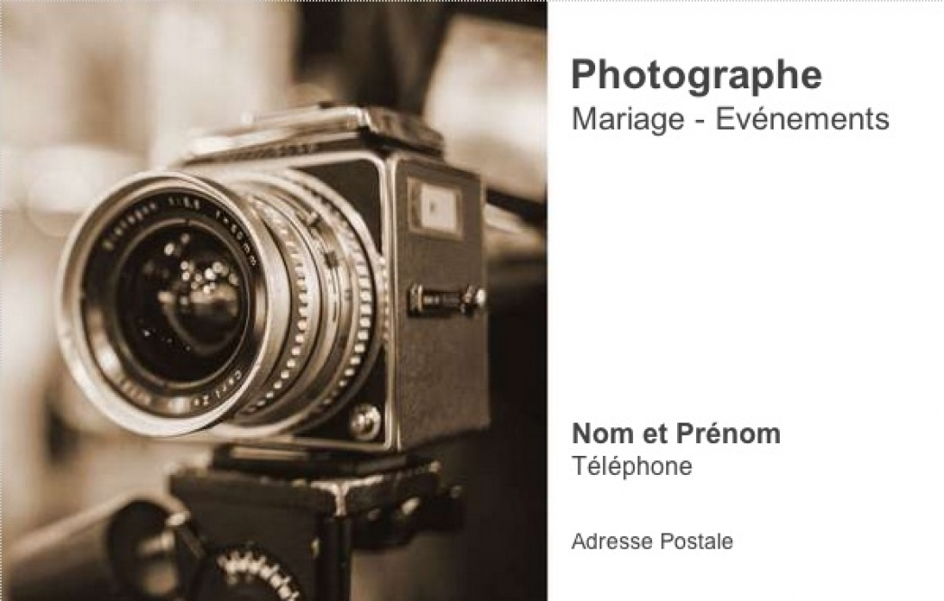 Préférence Carte de visite Photographe ⇒ Modèle | Sépia | à Personnaliser QI42